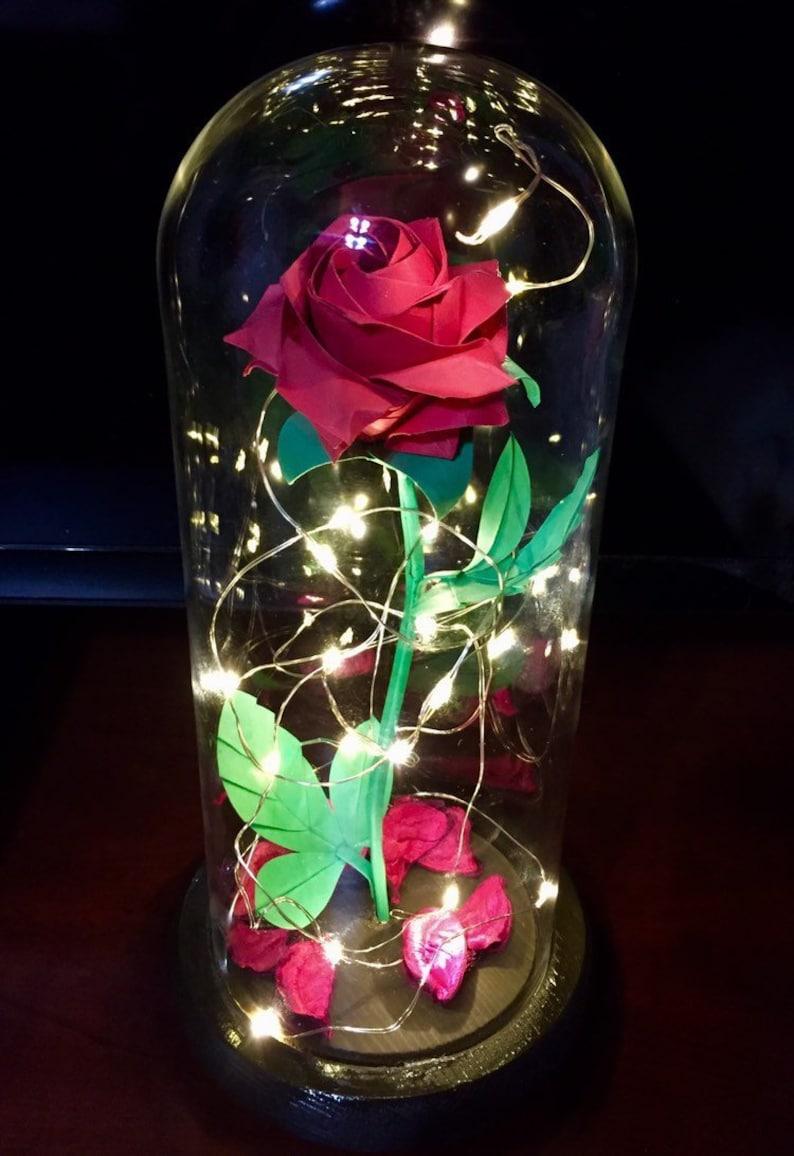 Schöne Und Das Biest Rose Disney Glaskuppel Rose Origami Etsy