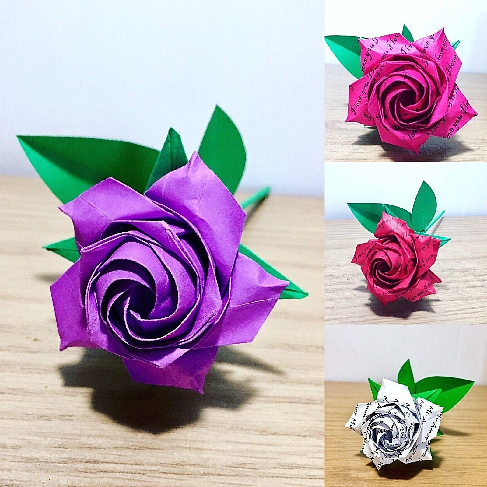 Red Rose Origami Rose Paper Rose Valentine Roses Etsy