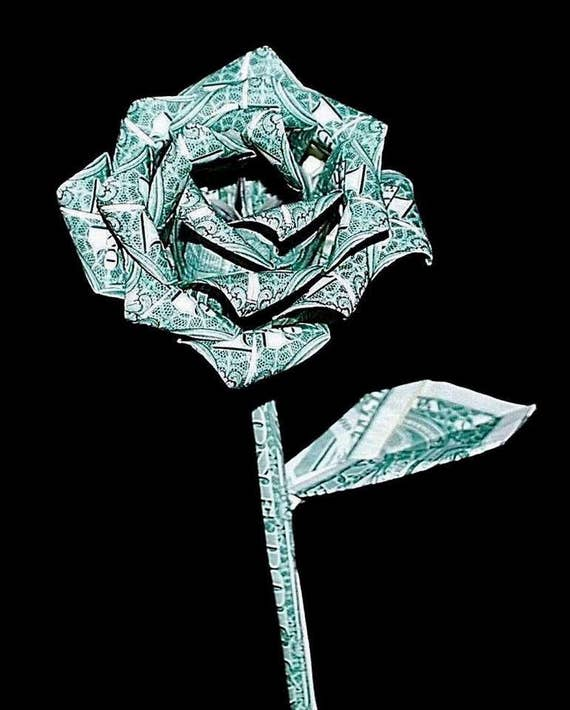Origami Money Rose US Dollar paper Flower christmas anniversary graduation gift