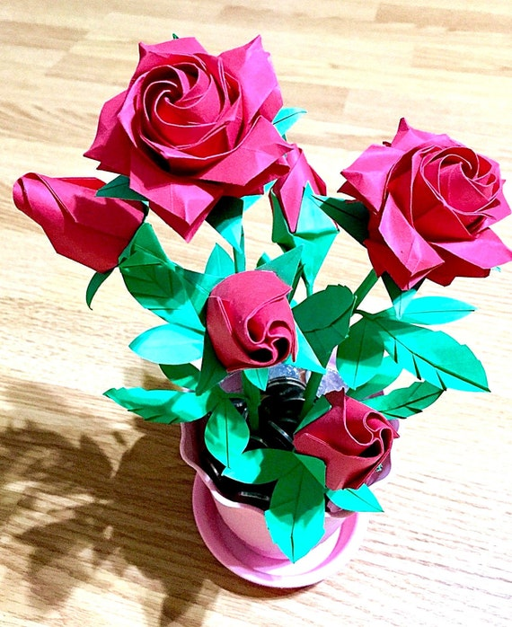 Flower in pot paper roses origami pentagon roses paper etsy image 0 mightylinksfo