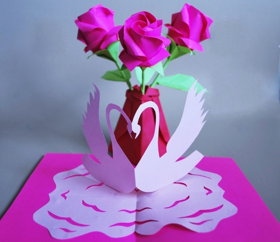 Origami Roses 3d Greeting Card Paper Roses Rose Bouquet Etsy