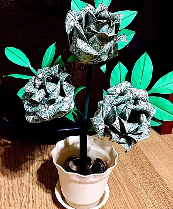 Money FLOWER Origami out of one dollar bill Tutorial DIY Folding ... | 688x570
