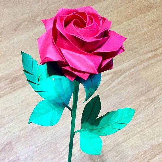 Papier Origami Rose Pentagone Dorigami Origami Fleur Etsy