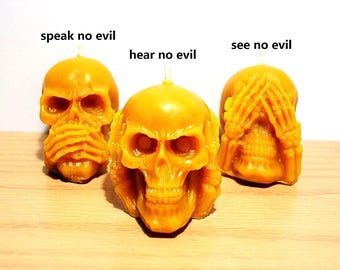 skull candle - skull gift - beeswax candle - candle gift - hear no evil - handmade candles - holiday gift - decorative candles