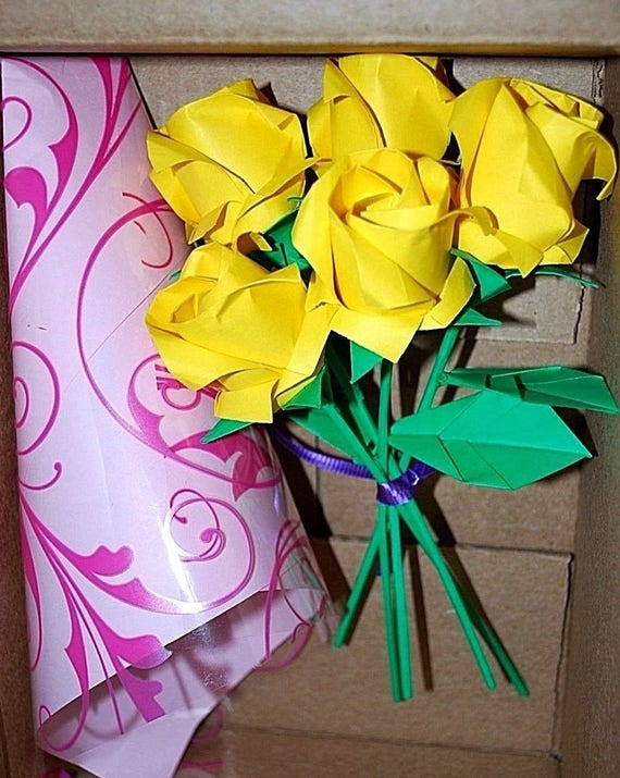Origami roses rose bouquet paper flowers origami flowers etsy image 0 mightylinksfo