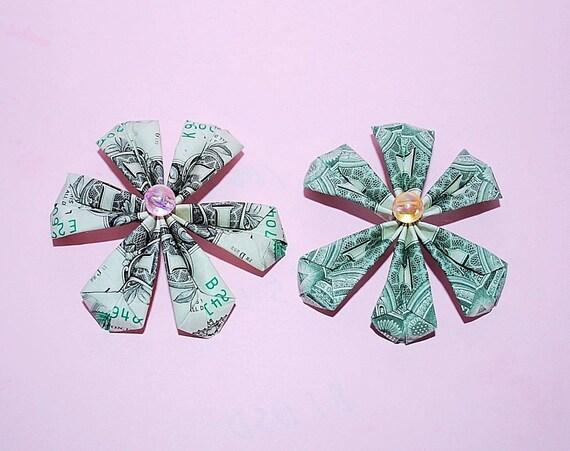Money Flower Flower Charm Money Origami Flowers Flower Etsy