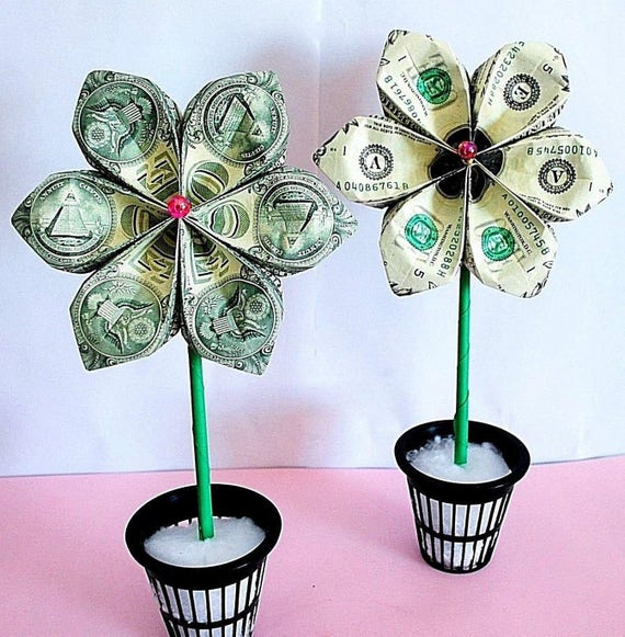 Money Origami Money Flower Origami Flower Money Bouquet Etsy