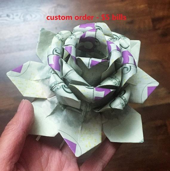 Money Flower Origami Lotus Money Lotus Dollar Bill Etsy