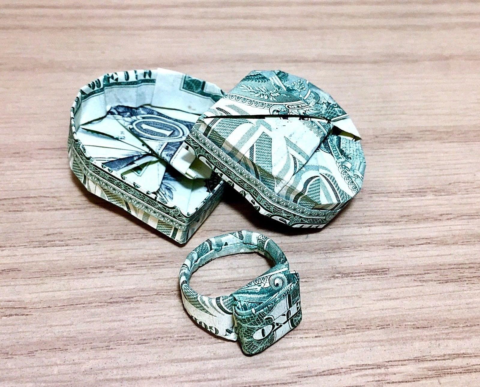 Money Origami ring heart box US dollar bill ring with | Etsy - photo#38