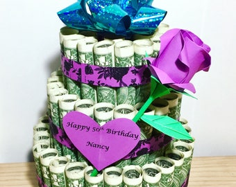 money cake - birthday cake - money art - dollar cake - gift for him - gift for her - geaduation gift - personalized gift