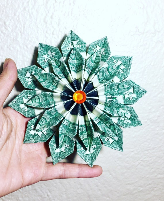 Money Origami Money Flower Origami Flower Flower Wreath Etsy