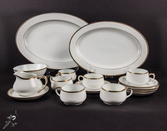 vintage geschirr set bone china gold trim paul m ller selb etsy. Black Bedroom Furniture Sets. Home Design Ideas