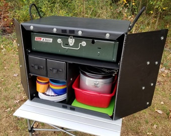 The Camping Kitchen Box 1000 -  Keep your Camping Kitchen organized and Ready for Adventure with this Light and Strong Chuck Box
