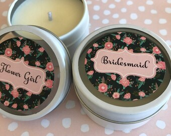 "Bridal party candle favours ""Black Floral"" design.  Bridesmaid thank you gift"