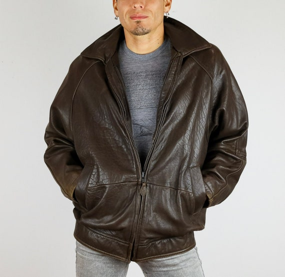 Vintage 80's Andrew Marc© Brown Leather Bomber Jac