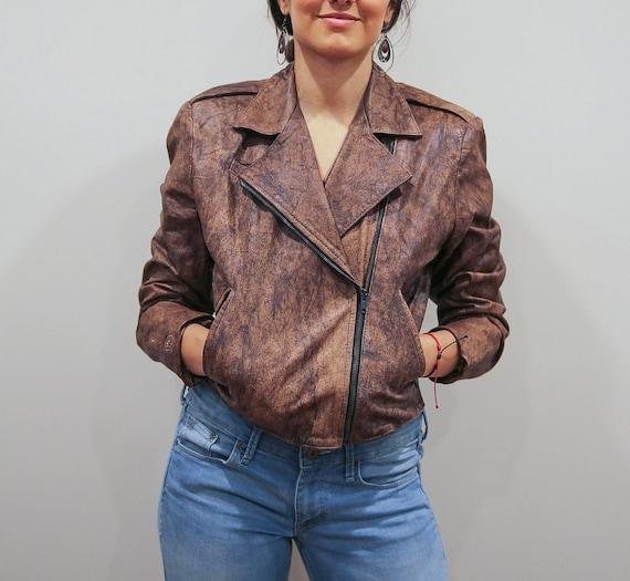 Vintage 80's Brown Acid Washed Leather Jacket
