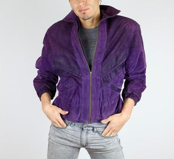Vintage 80's Avanti© Purple Suede Bomber Jacket