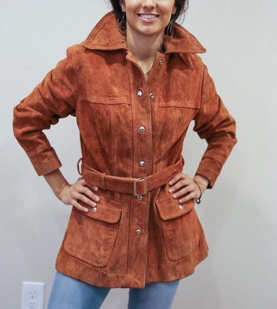 Vintage 70's Orange leather Suede Trenchcoat
