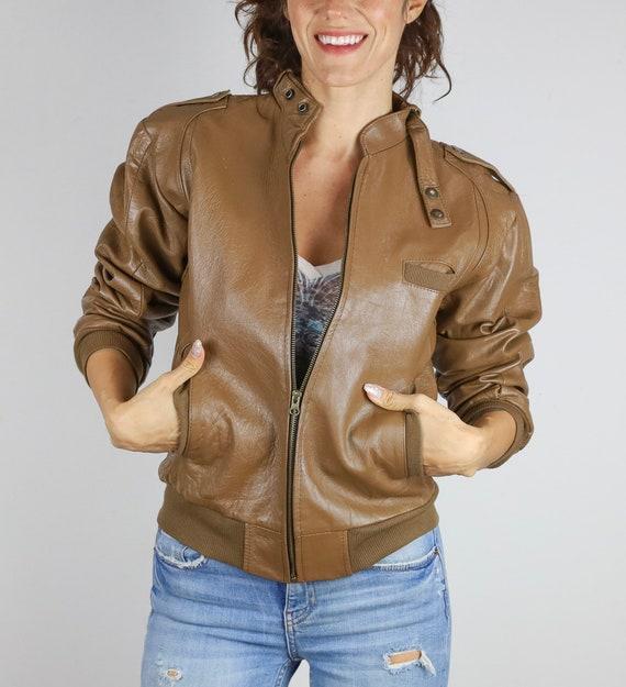 Vintage 80's Reworked Vintage© Brown Bomber Jacket