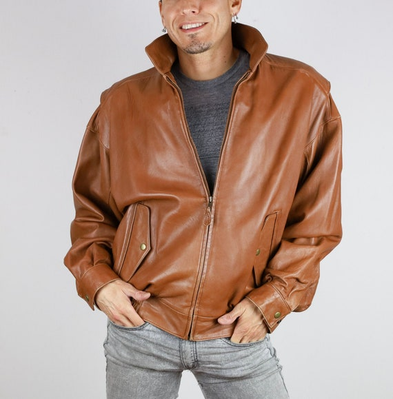 Vintage 80's Firenze© Brown Leather Bomber Jacket