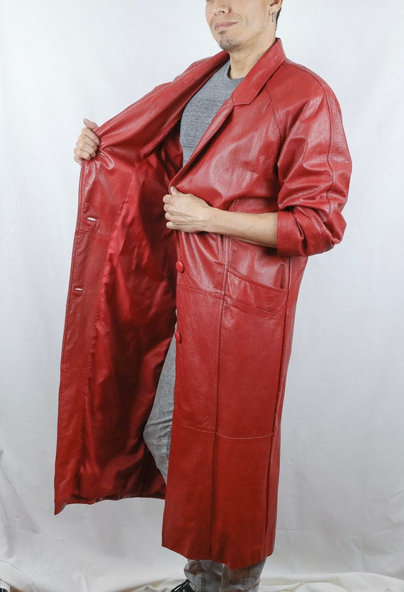 Vintage 80's Caspi & Leather© Red Leather Trench C