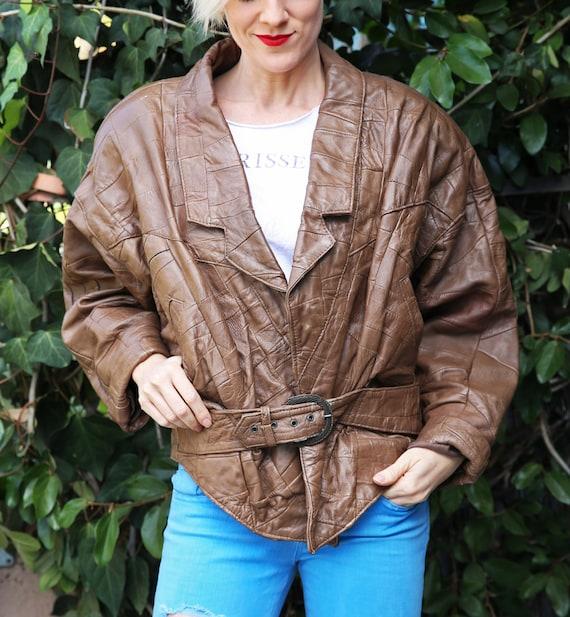 Funky vintage 80s brown shoulder pads! Genuine lea