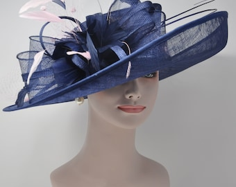 8e1723e18311d Church Kentucky Derby Carriage Tea Party Wedding Wide Brim Woman s Royal  Ascot Hat in Solid Sinamay Hat Navy Blue with Pink Color