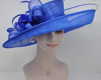 1e36b88ee12 Church Kentucky Derby Carriage Tea Party Wedding Wide Brim Woman s Royal  Ascot Hat in Solid Sinamay Hat Royal Blue