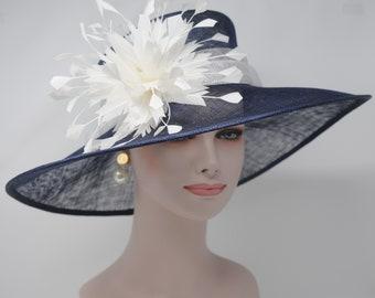 daa3e8ceca5 Navy blue w White Kentucky Derby Hat