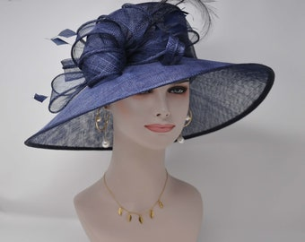 3bc81ed25529f Kentucky Derby Church Wedding Easter Royal Ascot Jumbo Feather Flower Wide  Brim Woman s Sinamay Hat Navy Blue
