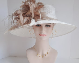 2fa3deee55b Church Kentucky Derby Carriage Tea Party Wedding Wide Brim Woman s Royal  Ascot Hat in Solid Sinamay Hat White with Taupe and White Feathers