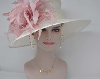 8b7d8bc487c Church Kentucky Derby Carriage Tea Party Wedding Wide Brim Woman s Royal  Ascot Hat in Solid Sinamay Hat Ivory with Dusty Pink