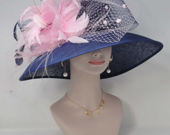 aa2b0c50694ee Kentucky Derby Church Wedding Easter Royal Ascot Jumbo Crin and Netting Bow Wide  Brim Woman s Sinamay Hat Navy Blue w Pink