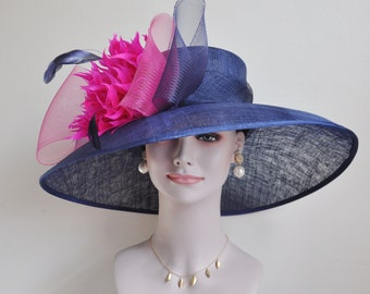 a76664215eec0 Church Kentucky Derby Carriage Tea Party Wedding Wide Brim Woman s Royal  Ascot Hat in Solid Sinamay Hat Navy Blue w Hot Pink