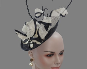 e97a05a02b8 Stunning shaped Sinamay Kentucky Derby Fascinator Hat on a Headband Navy  Blue with White