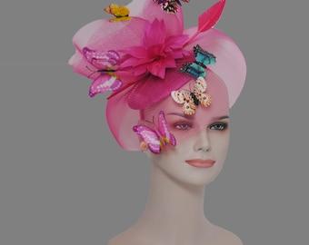 8fc0e37d004 Kentucky Derby Wedding Feather w Butterflies Floral Organza w Sinamay  Headband Fascinator Hat Cocktail Hot Pink