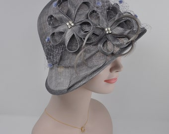 b3adb879 Gray Women's Sinamay With Feathers Small Brim Adjustable Hat, For Church,  Wedding, Kentucky Derby Gray/silver