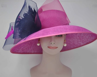 f5efe573755 Church Kentucky Derby Carriage Tea Party Wedding Wide Brim Woman s Royal  Ascot Hat in Solid Sinamay Hat Hot Pink w Navy Blue