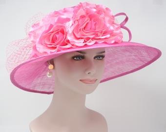 5d0d88440d5 Hot Pink with Satin Flowers Kentucky Derby Hat