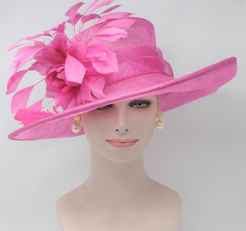 cbb0439427 Hot Pink Kentucky Derby Hat Church Hat Wedding Hat Easter