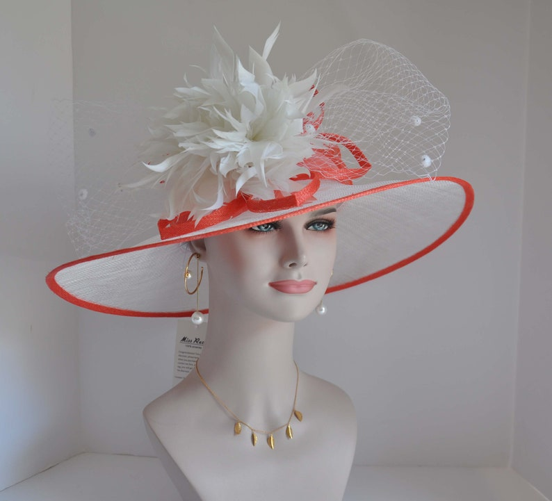 7ca519656 Coral Pink Kentucky Derby Hat, Church Hat, Wedding Hat, Easter Hat, Tea  Party Hat Wide Brim s Sinamay Hat w Jumbo Flower Netting Ribbon