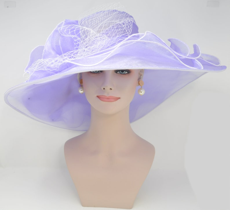55974f5ae New Kentucky Derby, Church Hat, Wedding, Tea Party with Two Big Flower 4  Layers 7