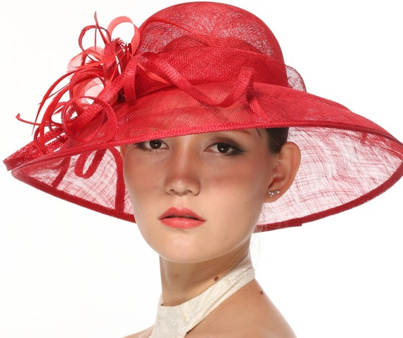 e7b8427a4bd Kentucky Derby Church Tea Wedding Hat Sinamay w Feathers Wide