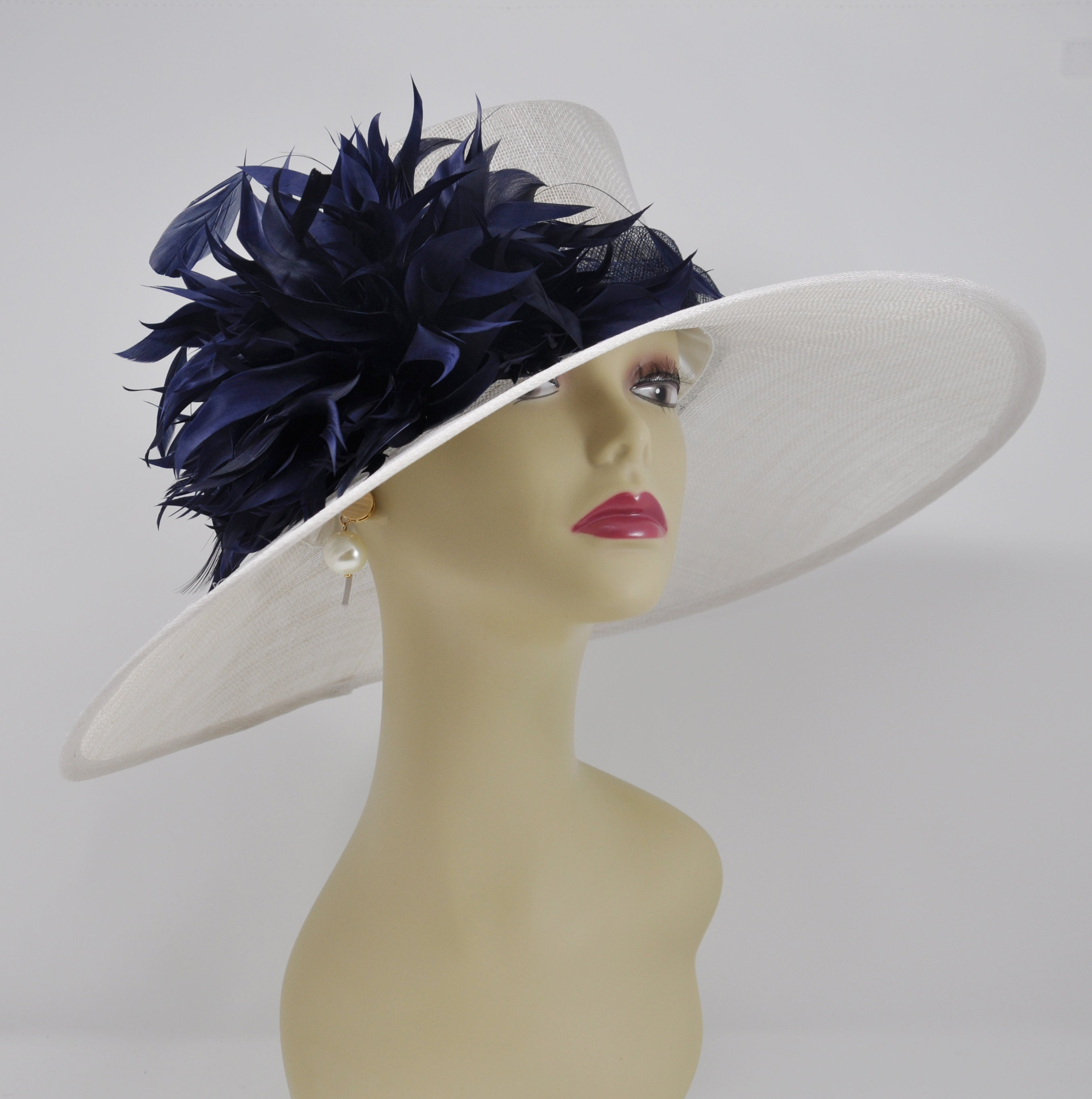 fcef19b78 White with Navy Blue Feathers Flowers Kentucky Derby Hat, Church Hat , Tea  Hat Wide Brim Sinamay Hat