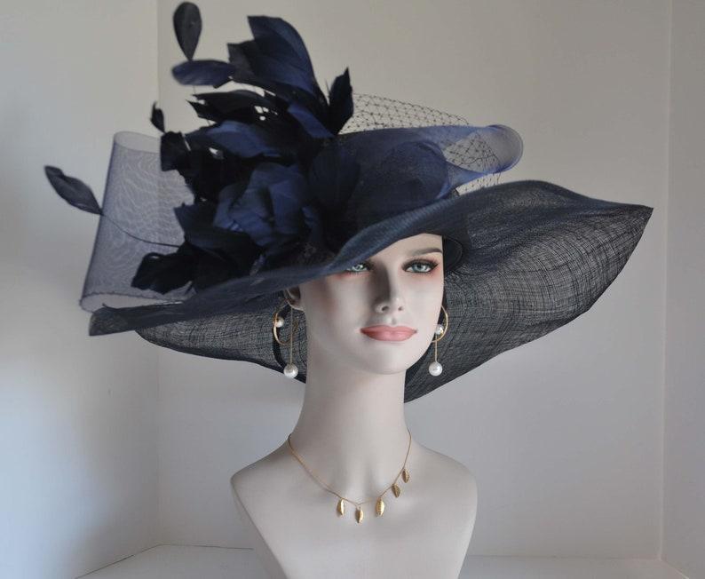 d021446e8 Navy Blue Kentucky Derby Hat, Church Hat, Wedding Hat Easter Hat Tea Party  Hat Wide Brim Sinamay Hat W Jumbo Navy Feather Flower Crin Ribbon