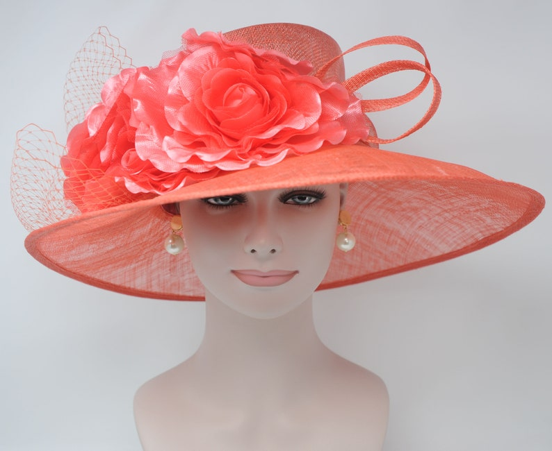a266d698 Coral Pink Kentucky Derby Hat, Church Hat, Wedding Hat, Easter Hat, Tea  Party Hat Wide Brim Woman's Sinamay Hat