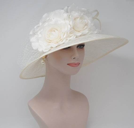 9be928ada Ivory/Off White with Satin Flowers Kentucky Derby Hat, Church Hat , Tea Hat  Wide Brim Sinamay Hat 7503