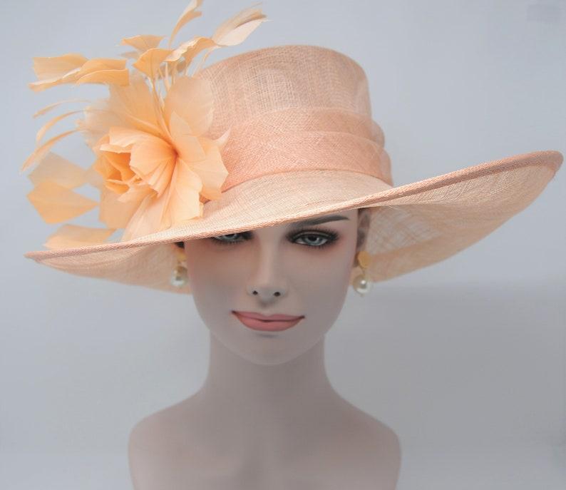 Peach Kentucky Derby Hat Church Hat Wedding Hat Easter Hat  b9e0421811e