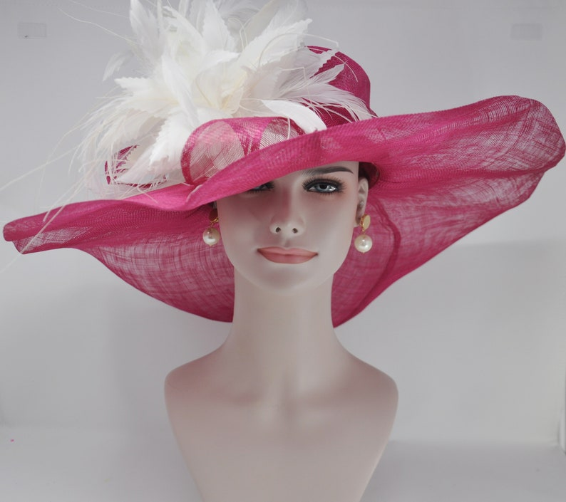 fdd688c85651a Hot Pink Fushia w Ivory Feather Flower Kentucky Derby Hat