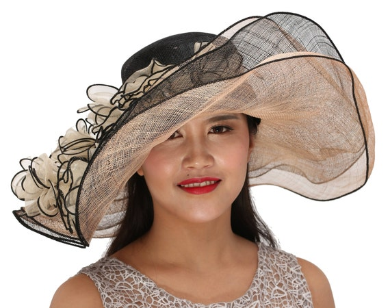 5caa5b0e42f Taupe with Black Kentucky Derby Hat Church Hat Wedding Hat